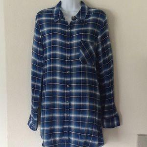 Plaid long lightweight shirt